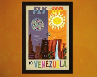 FINE ART REPRODUCTION Fly Up To Venezuela Print Vintage Tourism Travel Poster Advertising Retro    Design