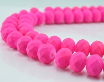 Matte Glass Beads Donut Rondelle Faceted for Jewelry Decoration Chandelier 6x8mm 60 PCs ea Item#789222043032