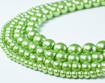 Glass Pearl Beads Light Green Size 4mm/6mm/8mm/10mm Shine Round Ball Beads for Jewelry Making Item#789222046446