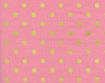 Caterpillar Dots Pink Metallic from Wonderland by Anna Bond of Rifle Paper Co for Cotton + Steel - 1/2 Yard