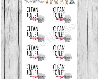 Mini Sticker Sheet - clean toilet - planner stickers