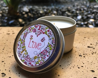 LOVE Heart Grapefruit Citrus Scent Candle 2 Oz.