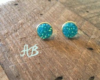 Druzy Earrings- Aqua Blue