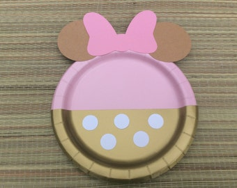 12 Minnie Mouse plates,First Birthday Girl Party Ideas,1st Birthday Girl Decoration Pink and Gold/Minnie mouse pink and gold/WEEKEND SALE