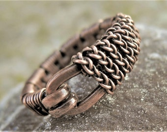 Wire woven copper ring - Copper belt ring - Mens copper ring - Womens copper ring - Oxidized copper ring - Braided vintage copper ring