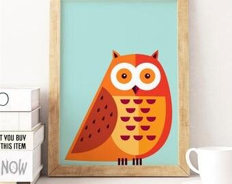 Owl nursery, Owl print, Nursery owl, Woodland print, Woodland animals, Woodland nursery decor, Nursery prints, Pdf prints, Nursery wall art,