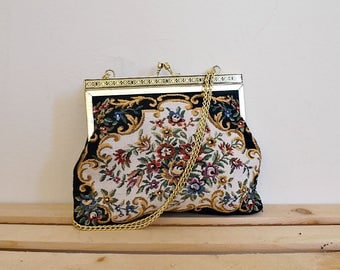 Vintage 50s floral tapestry bag with chain strap