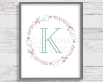 Letter K - Monogram Printable - Wall Letter - Nursery Decor - Wall Art - Floral Wreath - Home Decor - Instant Download - 8x10 Print