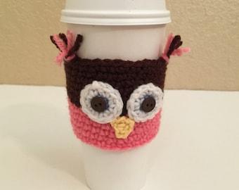 Owl Coffee Cozy - Crochet Cup Cozy - Tea Cozy -  Coffee Cozy - Coffee Lover Gift - Cup Cozy