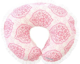 15% OFF SALE - Delaney's Pink Damask | Pink & White Ruffled Nursing Pillow Cover