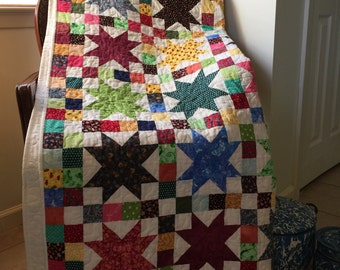 Vintage fabric quilt top newly quilted king size
