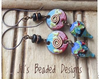 Enameled copper earrings, Lampwork Glass earrings, Copper Swirls