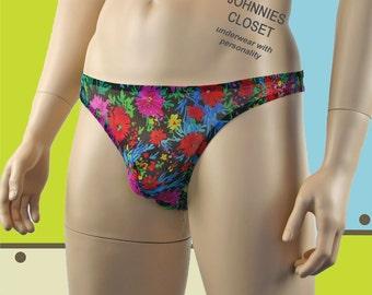 Flower Power Mens V Back Thong - Mens Underwear