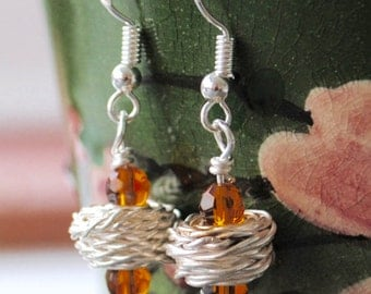 Silver Wire Wrapped Birds Nest Bead Earrings with Brown Amber Topaz Colour Faceted Beads