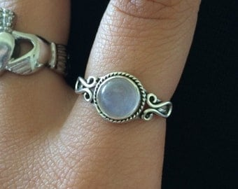 Moonstone ring, 925 Sterling Silver,Sterling Ring,Rainbow Ring,