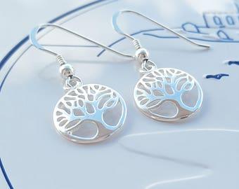 Family Tree Earrings, Sterling Silver Family Tree Earrings, Silver Family Tree Earrings, Tree of Life Earrings, Silver Tree of Life
