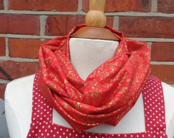 Red Gold Holly Fabric Infinity Scarf, Infinity Scarf, Ladies Scarves, Loop Scarf, Womens Scarves, Circle Scarf, Tube Scarf, Gift Idea
