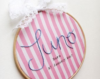 Personalised Name and Stamped Detail Wall Art - Hand Embroidered Name Hoop