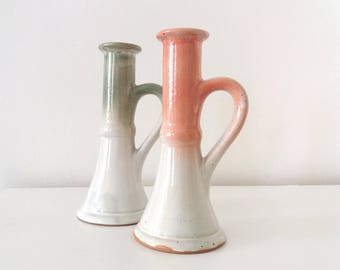 Ceramic green and pink handled lamp bases | Vintage pottery chamberstick style lamp base