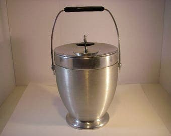 Mid-Century Kromex Ice Bucket, Brushed Aluminum and Chrome, Endearingly Beautiful Kromex 1960's, large iebucket