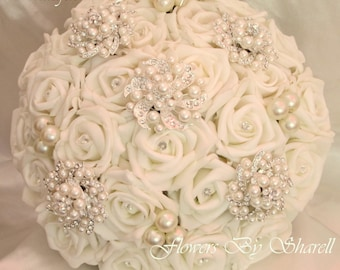 Wedding Flowers Brooch Bouquet Wedding Bouquet Brides Posy Bouquet Pearls Diamantes Crystals Five Flower Brooches Ivory or White Roses