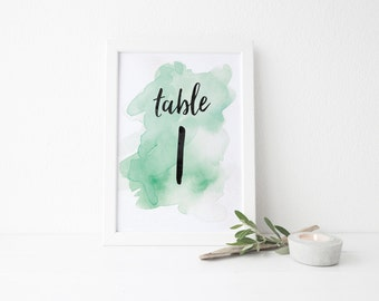 instant download watercolor splash table numbers // mint green watercolor // hand lettering // printable digital files table numbers 1-20