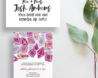 watercolor engagement party invites // diamond party invites // jewel invites // watercolor jewels // PRINTED party invites // custom