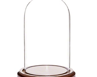 "7"" Glass Dome Wooden Base Ornament Display Case- SKU # st-20"