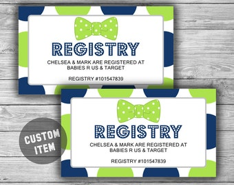 bow tie baby shower registry cards invitation inserts printable