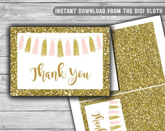 Pink and Gold - Baby Shower Thank You Cards - PRINTABLE - INSTANT DOWNLOAD - Pink - Gold - Tassels - 094