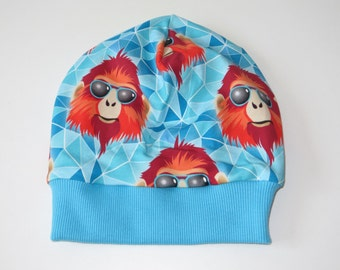 Beanie, beret, KU 51-54 cool monkey turquoise Red