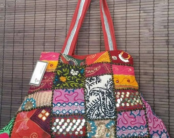 Beautiful Sequin Patchwork Embroidery Purse Handmade hand bags ethnic handmade ethnic bag shoulder bag patch work bag beach bag tote bag