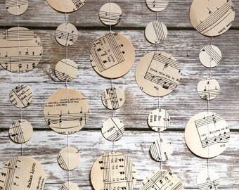Musical Note Garland, Sheet Music Garland, Musical Note Wedding, vintage sheet music, wedding garland, Musical Party, Orchestra Party