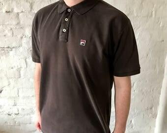 Vintage Fila Polo Shirt / T-shirt / Shirt / Black / X-Large