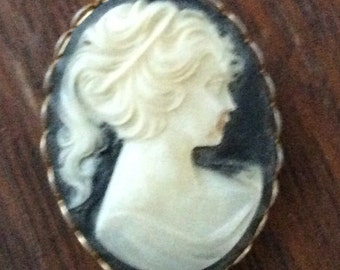 Wonderful Cameo pin brooch Brown and cream in gold setting