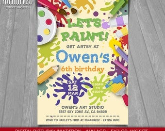 Art Paint Party Invitation - Art Birthday Party Invitation - Paint Colors Party Invitation Boy - Printable Digital File