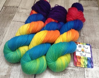 Hand dyed yarn sock merino/nylon Superwash 'To Boldly rainbow' sock yarn/ wool /Uk indie dyer /knitting /crochet /sock weight/ shawl