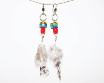 "Earrings dangling - feather and Murano glass - model ""Jeanne 5"""