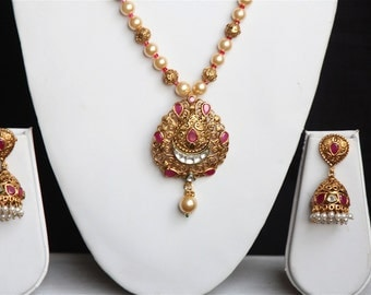 Traditional Indian Antique Gold Necklace Earring Set / Indian Jewelry / Necklace With Jhumka Earrings / Bollywood Jewelry / Gift For Her..