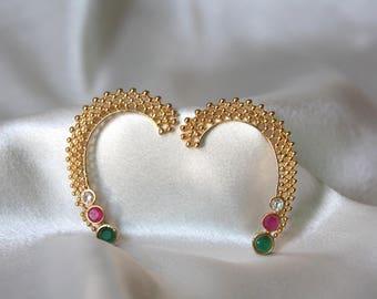 Semi Precious Stone Ear Cuffs / Gold Finish Ear Climber / Ear Cuff / Ear Jacket / Ruby Ear Crawler / Gift For Her / Gold Finish Ear Climber