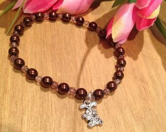 rabbit elasticated bracelet, bunny jewellery, pet lover gift, rabbit gift