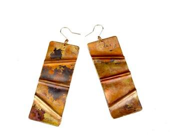 Copper Fold Formed Drop Earrings