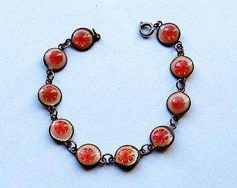 MURANO GLASS VINTAGE bracelet orange colours