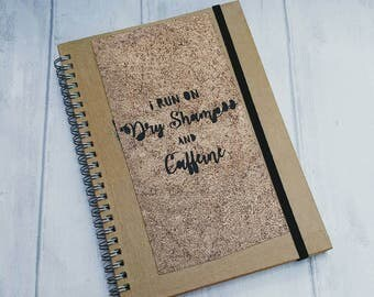 Novelty copper notebook, caffeine, mascara, A5 eco notepad, recycled paper, text, quote, broze, gift for her, ooak, one of a kind present