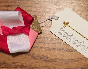 Valentine's Day hair bow/pinks, gold, and whites/hair clip/headband/handmade/customize