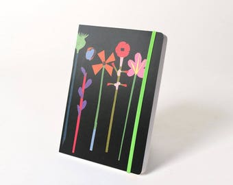 """Blank Hardcover Journal with Elastic Closure, """"Flower"""""""