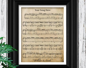 YOUR WEDDING SONG | Sheet Music on Velvet Paper | 10th Anniversary Gift | 10 Year Anniversary | Husband Anniversary | Wife Anniversary Gifts