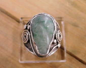 Unique Jade Sterling Silver Ring Size 9