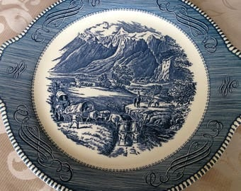 Currier and Ives Platter Royal China Co.  Rockies Western Pattern