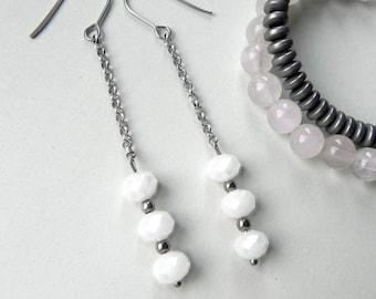 Long earrings Crystal earrings Stainless Steel details White faceted glass beads Light original earrings Hypoallergenic Simply earrings